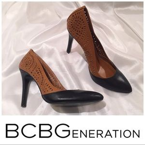 Leather laser-cut Perforated Pumps -EUC size 9.5